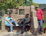 Visitors with The Sundance kid statue